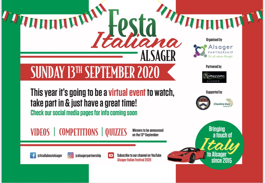 Festa Italiana Alsager - Going virtual for 2020!! 13/9/20